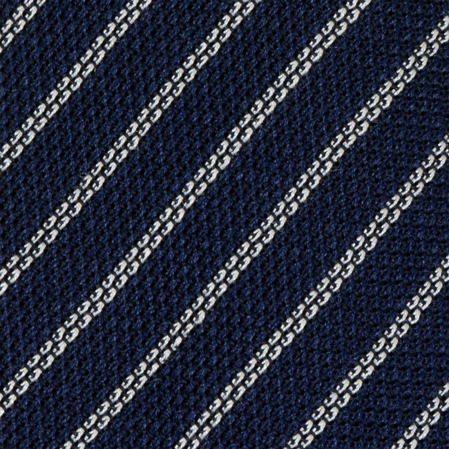 Navy Blue and White Striped Grenadine Silk Tie - serafinesilk