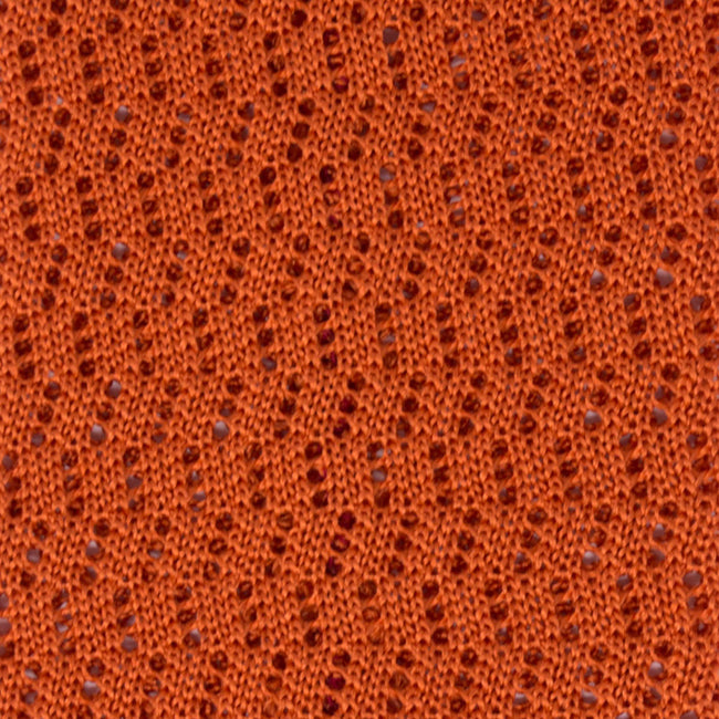 KNITTED  ZIG ZAG V-POINT ORANGE TIE