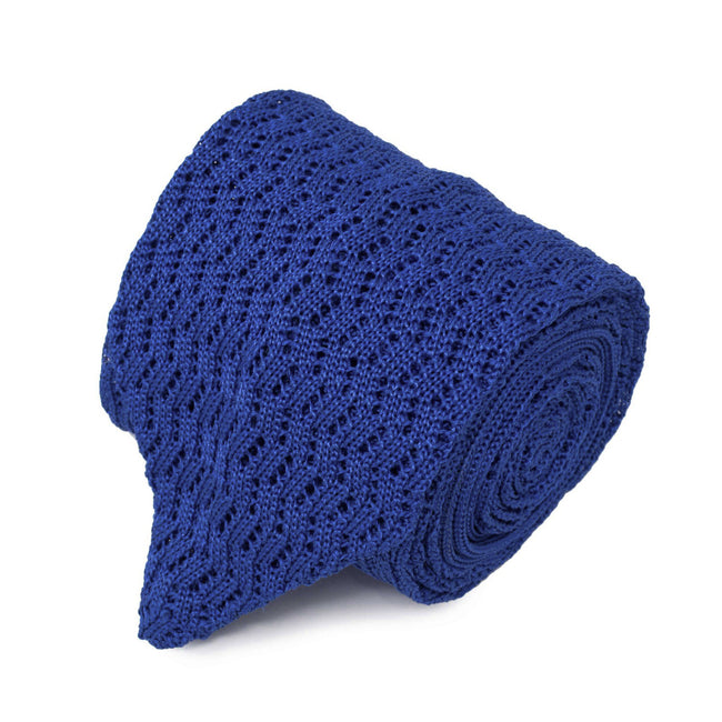 Royal Blue Zig Zag V Point Knitted Tie - serafinesilk