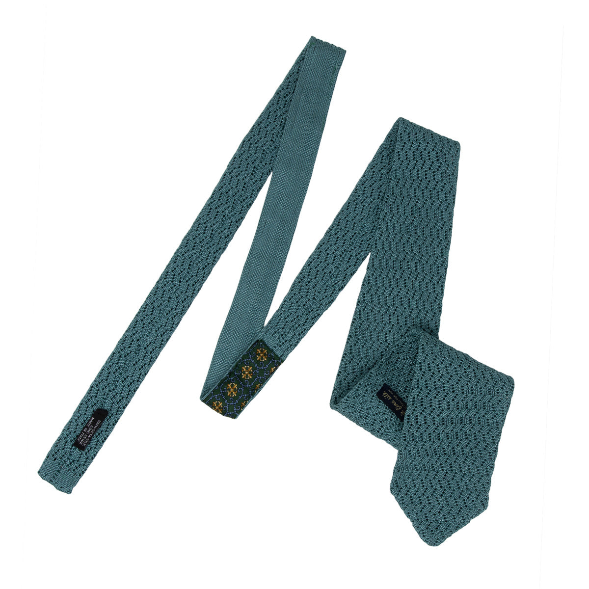 Light Green Zig Zag V Point Knitted Tie - serafinesilk