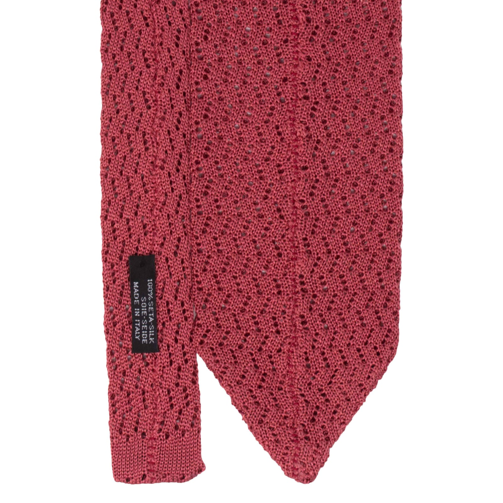 Peach Zig Zag V Point Knitted Tie - serafinesilk
