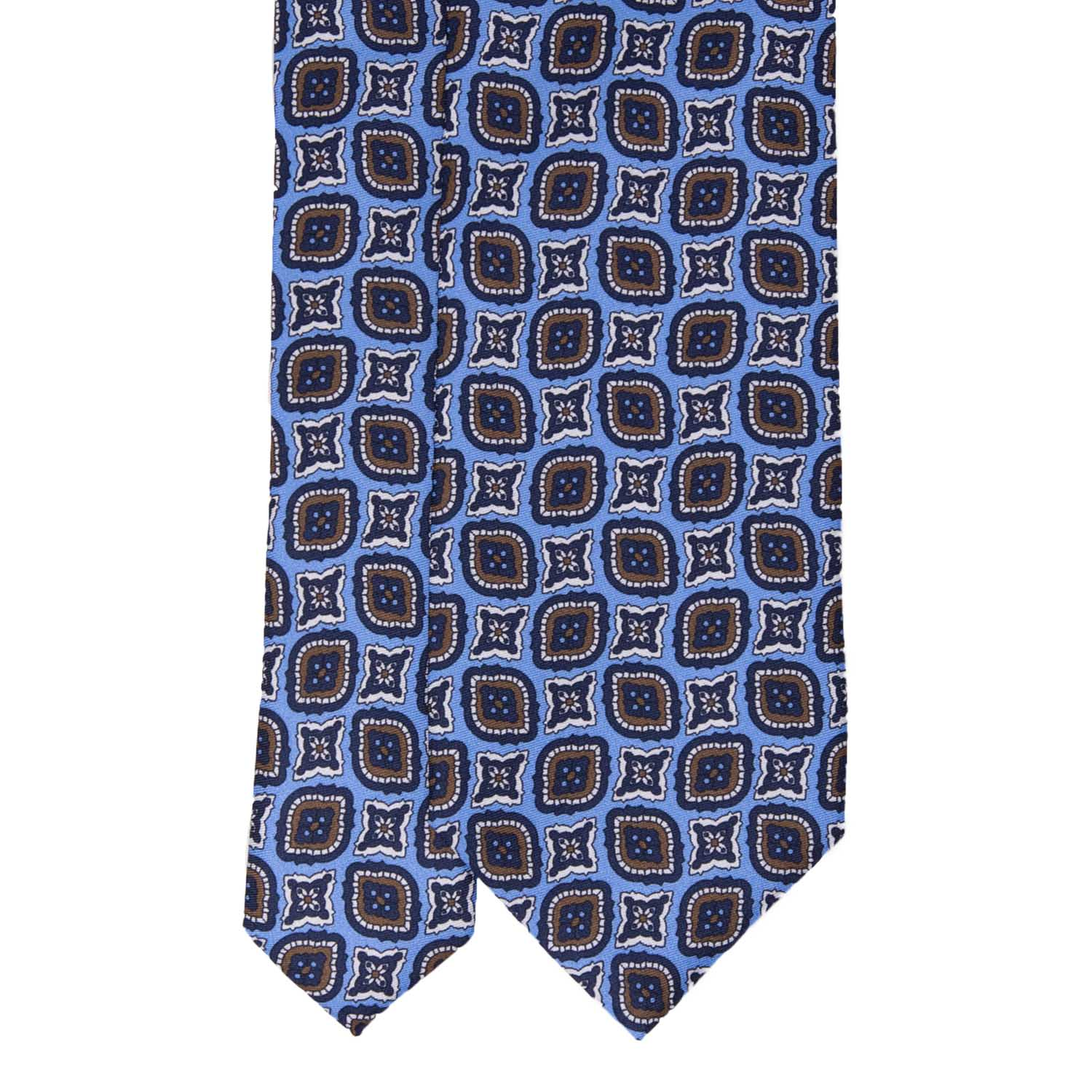Light Blue with Navy Blue Medaillon Pattern Silk Tie - serafinesilk