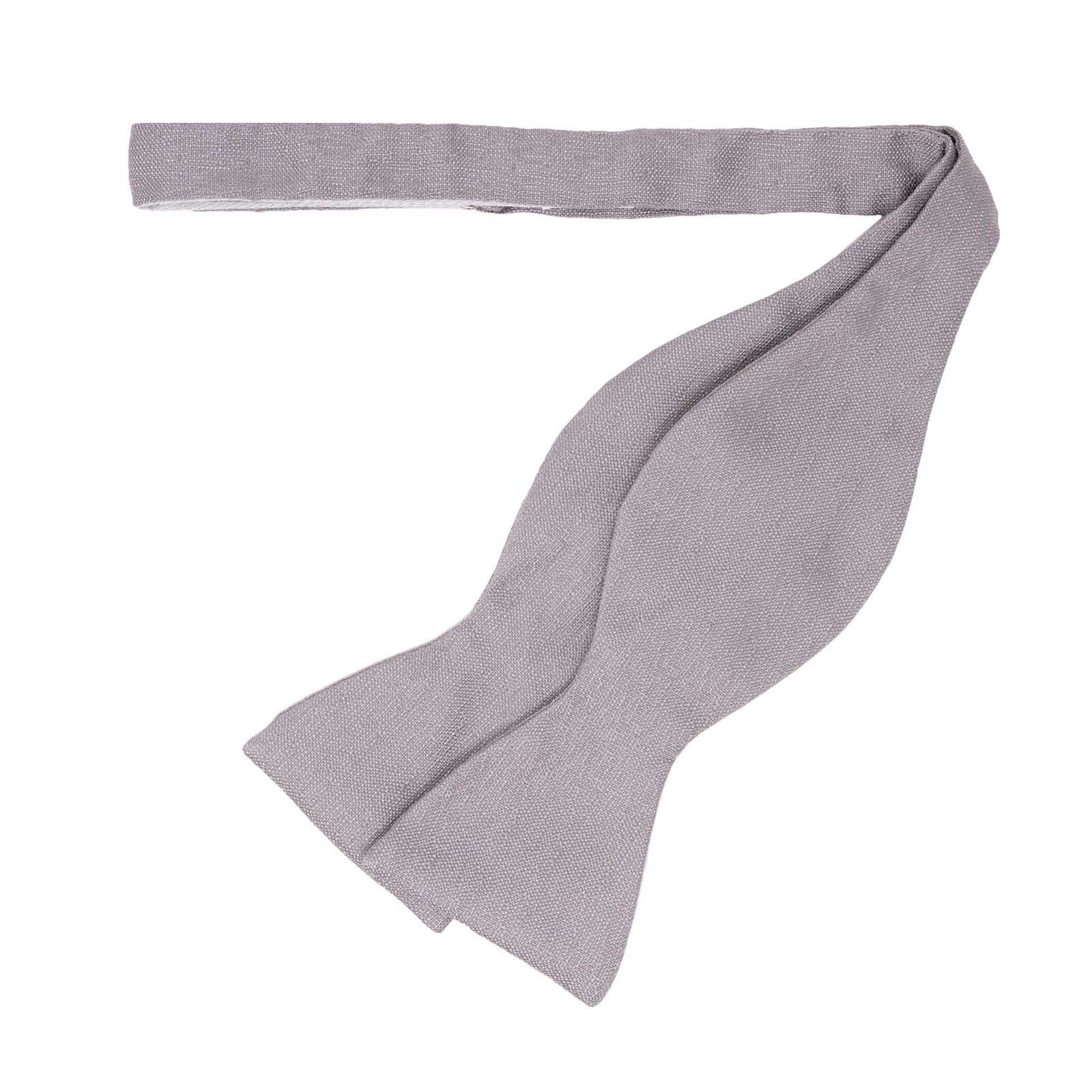 Light Grey Self Tie Silk Bow Tie - serafinesilk