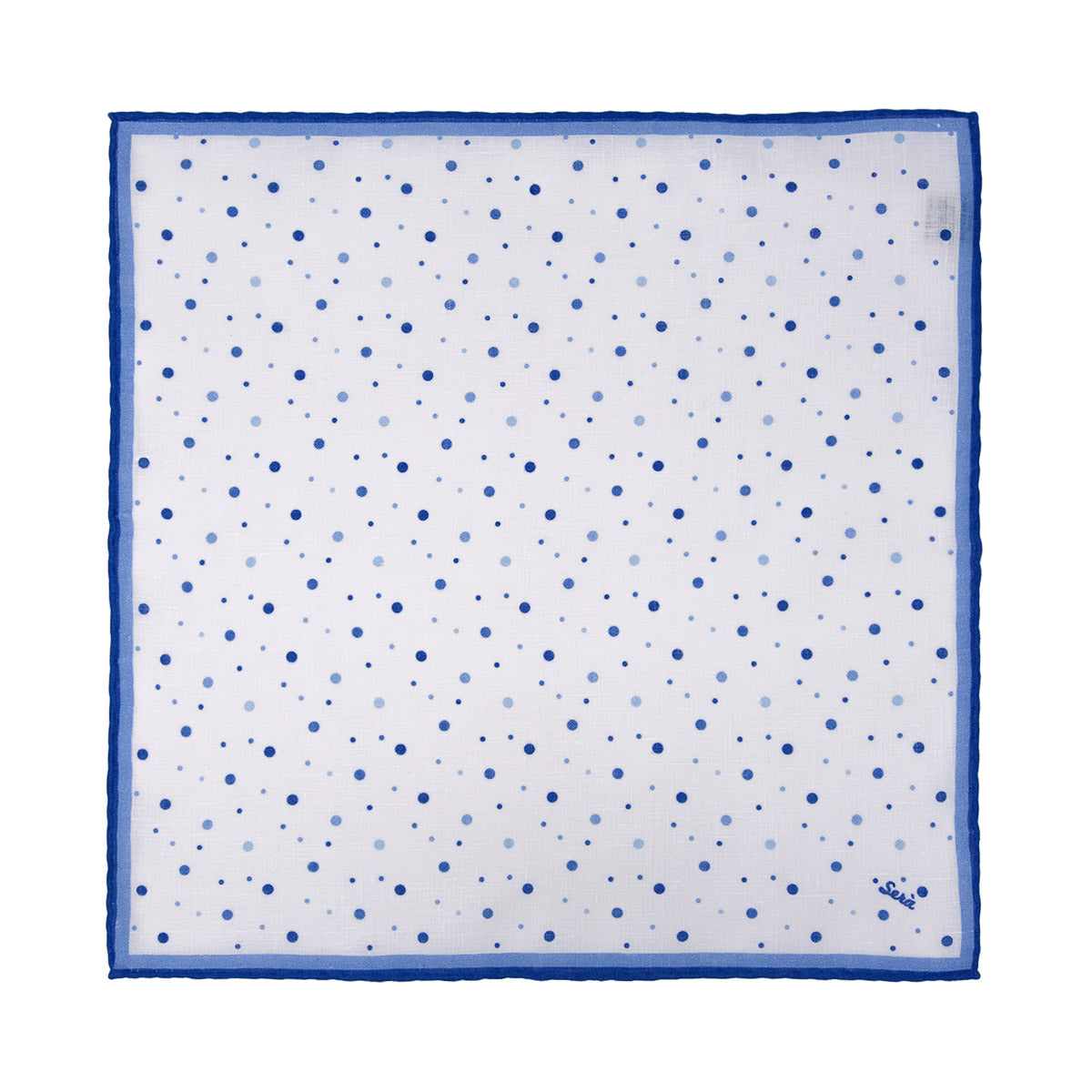 Blue Dots Linen Pocket Square - serafinesilk