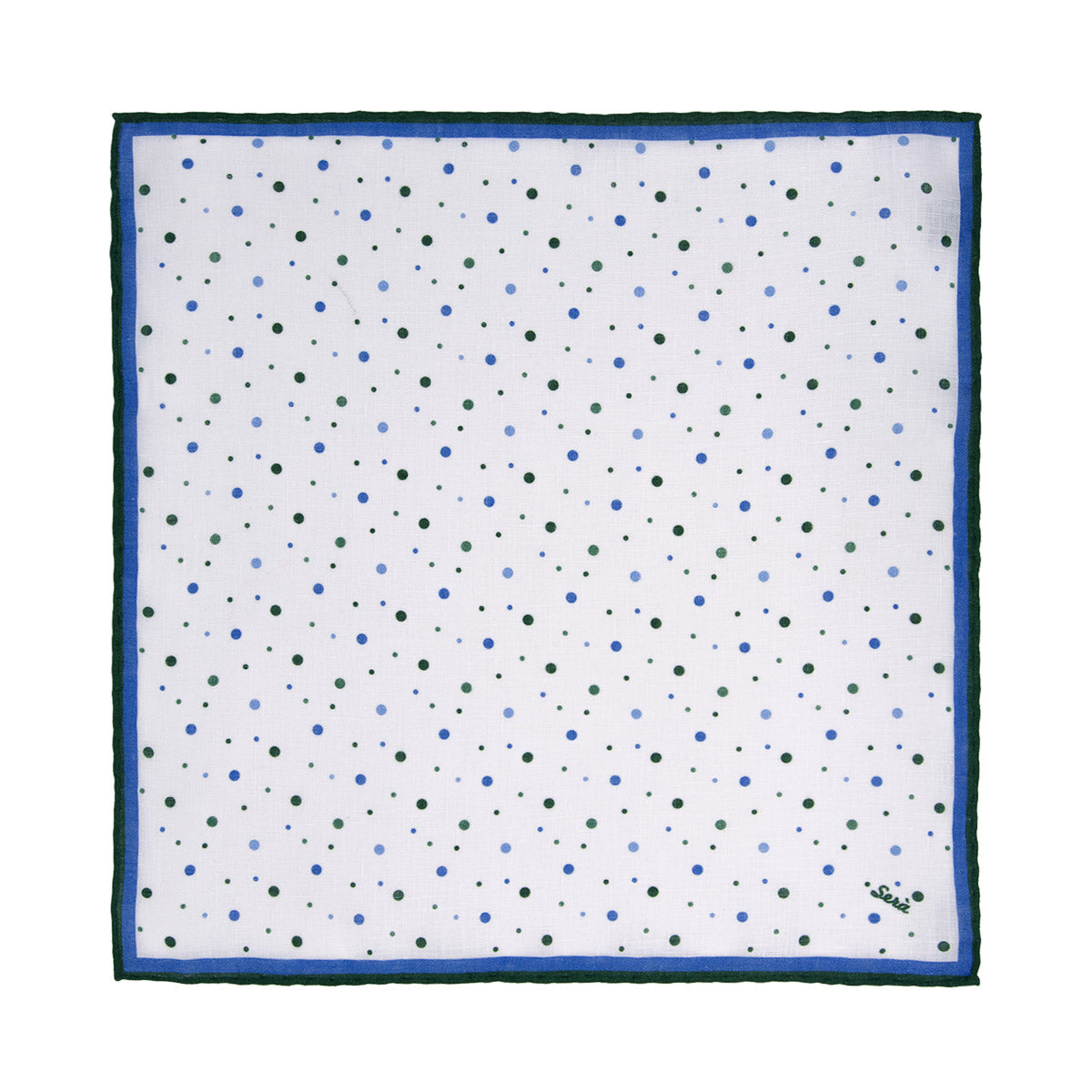 Green Dots Linen Pocket Square - serafinesilk