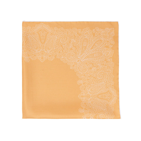 Yellow paisley silk face mask with filter pocket
