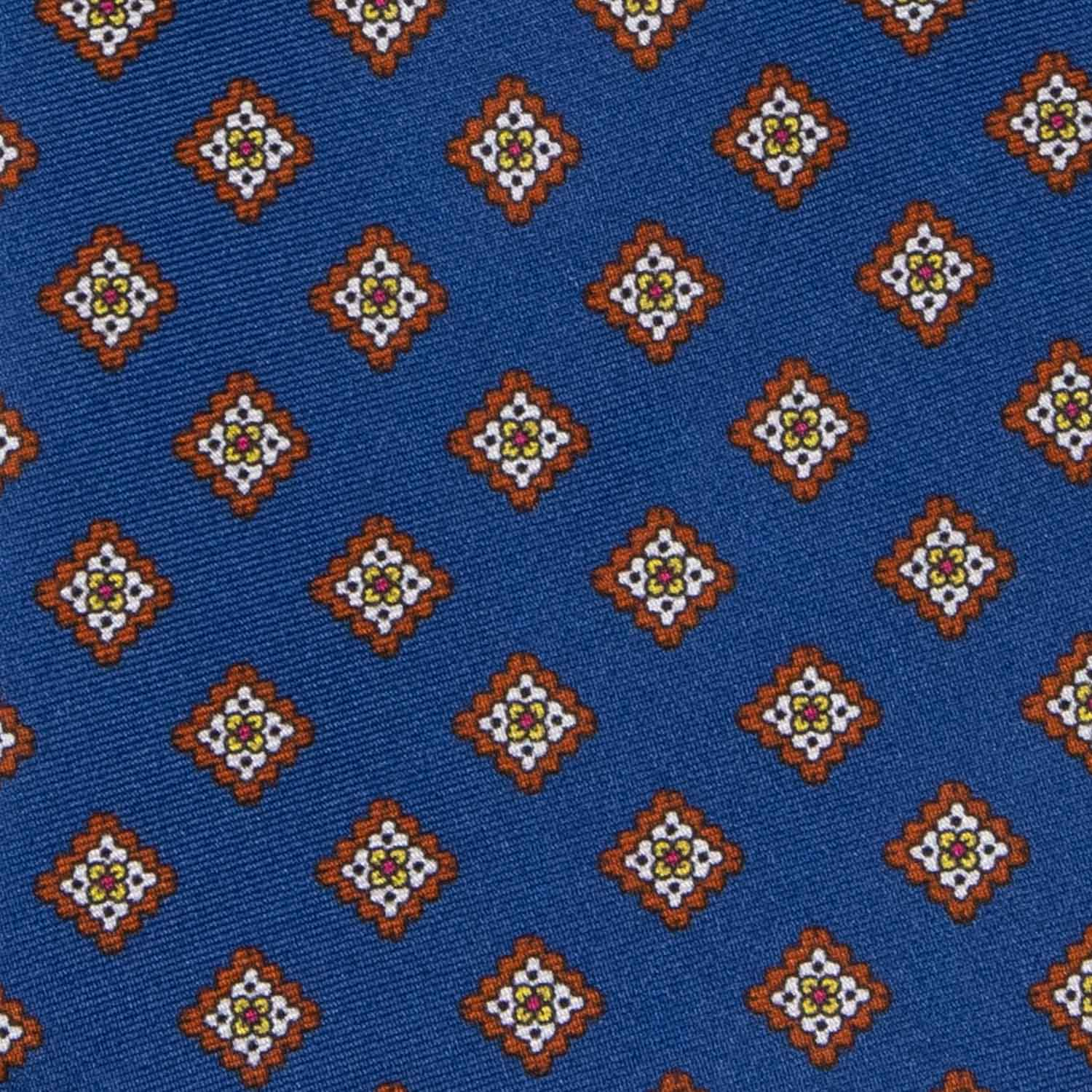 Midnight Blue with Brown Squares Pattern Silk Tie - serafinesilk
