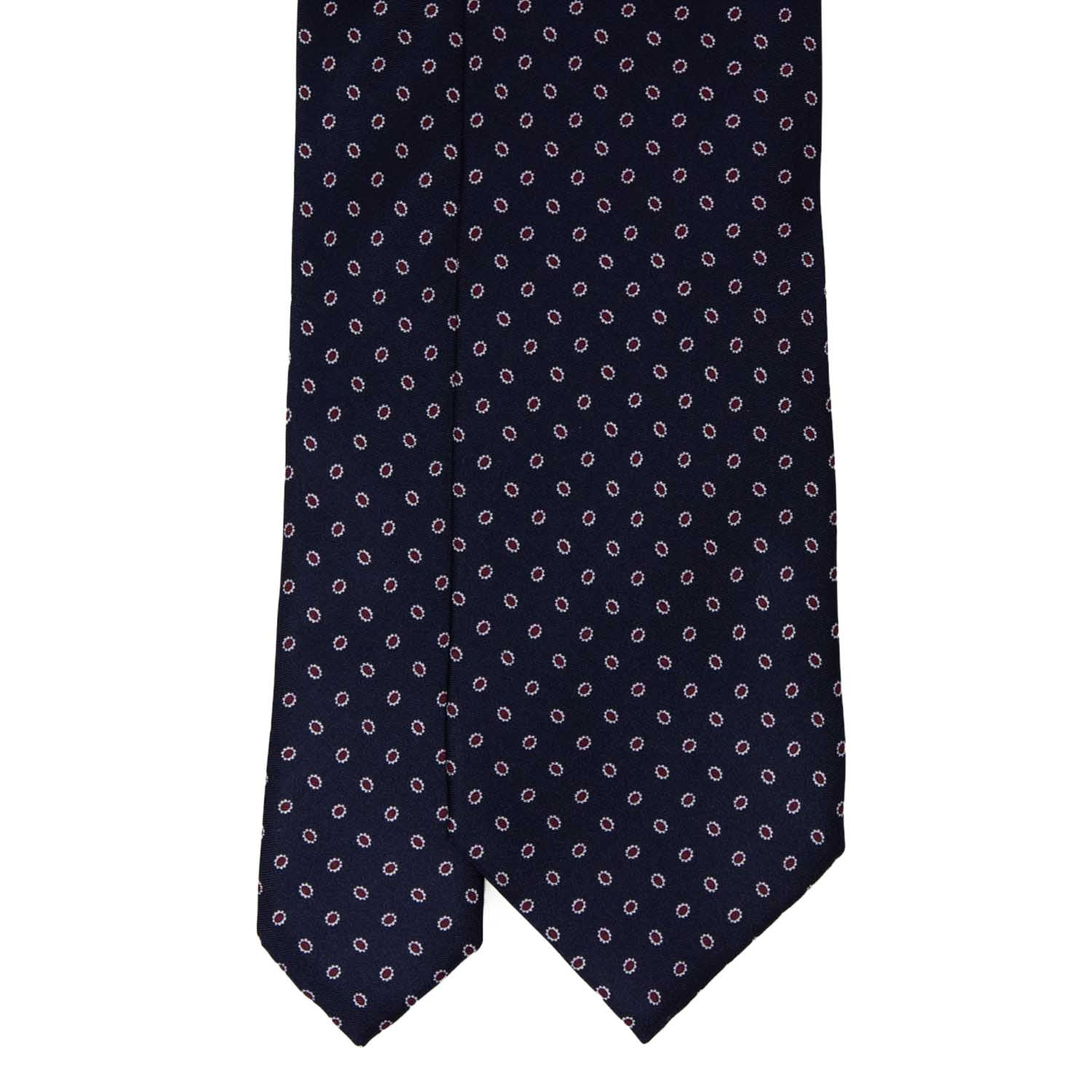 Navy Blue with Burgundy Dots Pattern Silk Tie - serafinesilk