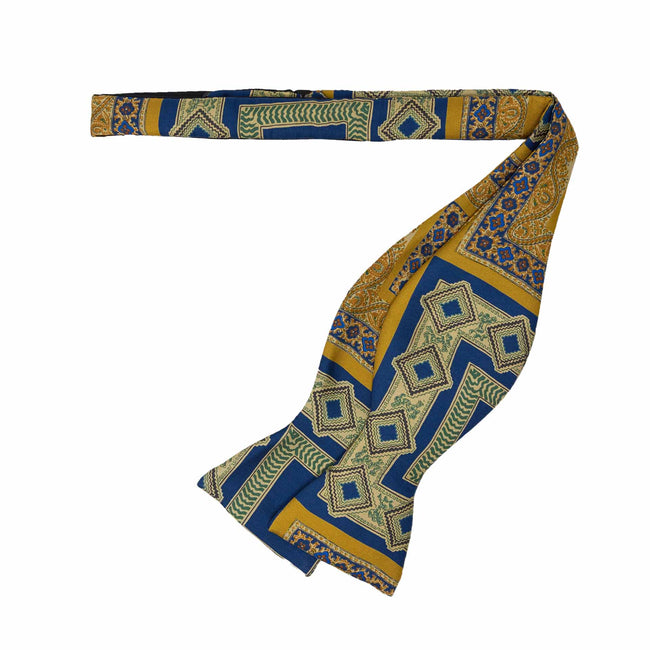 Blue and Gold Pattern Self-Tie Silk Bow Tie - serafinesilk