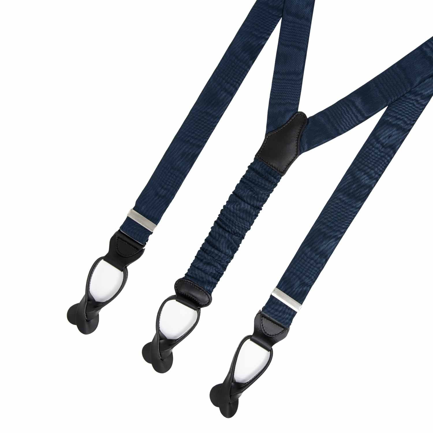 Navy Blue Moire - Button Only - Silk Suspenders - serafinesilk