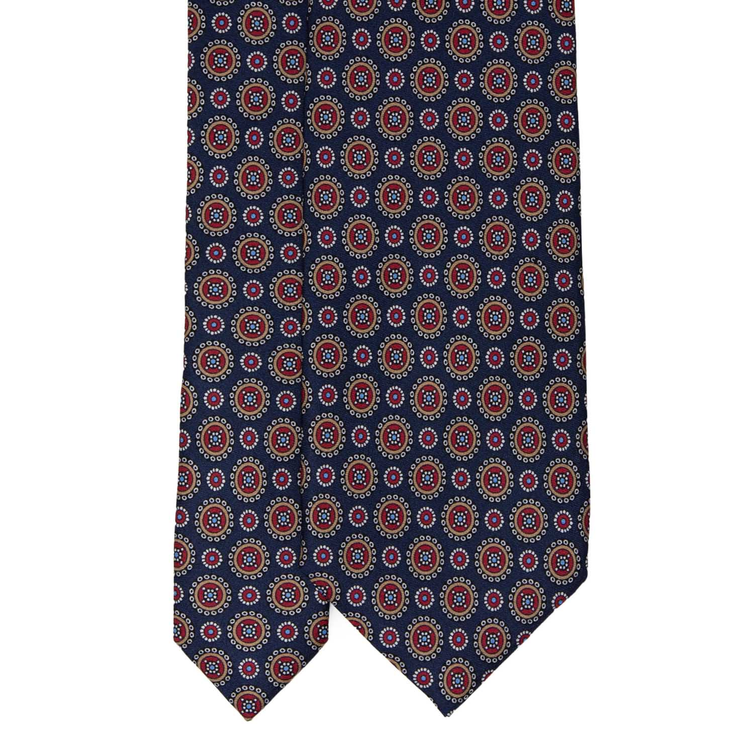 Navy Blue with Round Pattern Silk Tie - serafinesilk