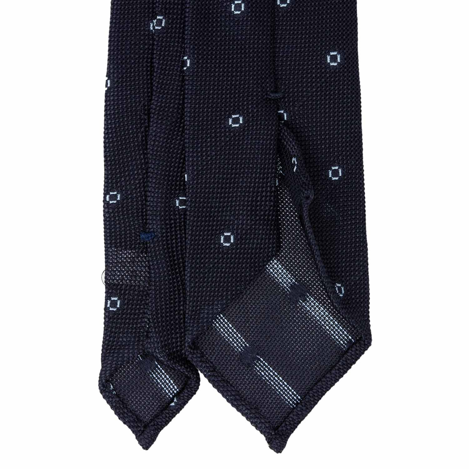 Navy Blue with Light Blue Dots Grenadine Silk Tie - serafinesilk