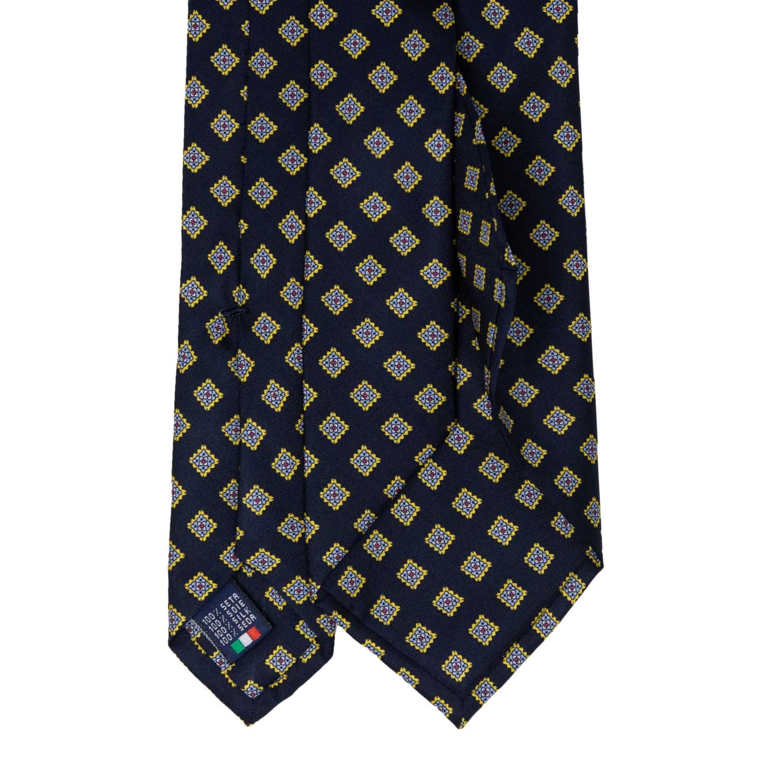 Navy blue with Yellow Squares Pattern Silk Tie - serafinesilk