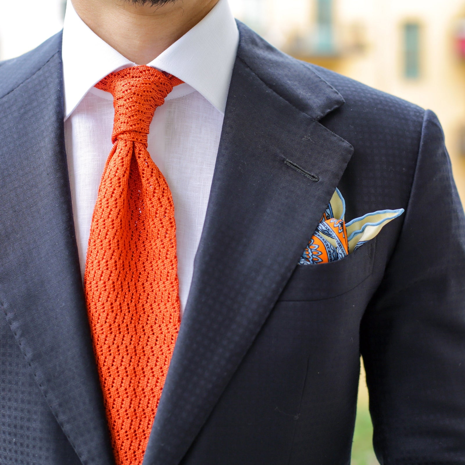 Orange Zig Zag V Point Knitted Tie - serafinesilk
