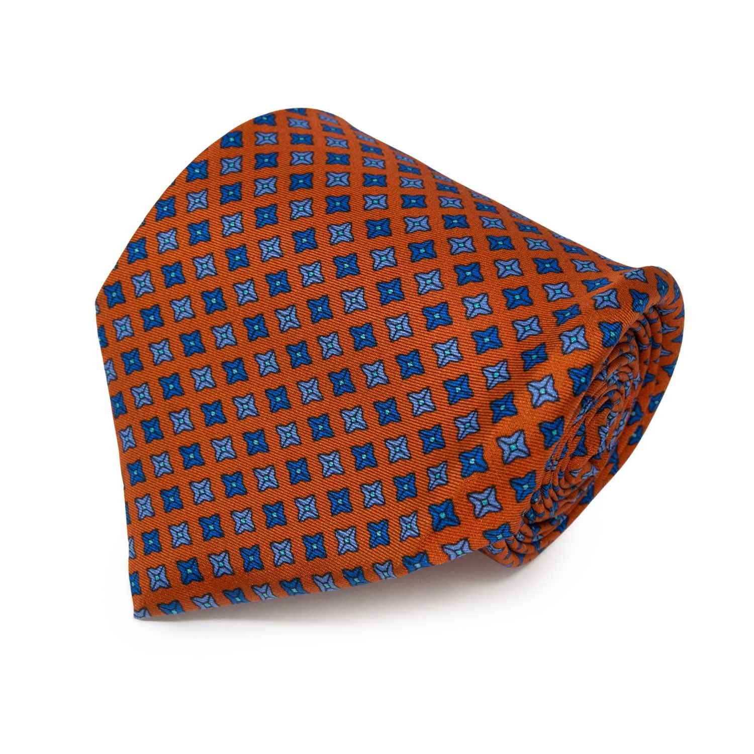 Orange with Square Dots Pattern Silk Tie - serafinesilk