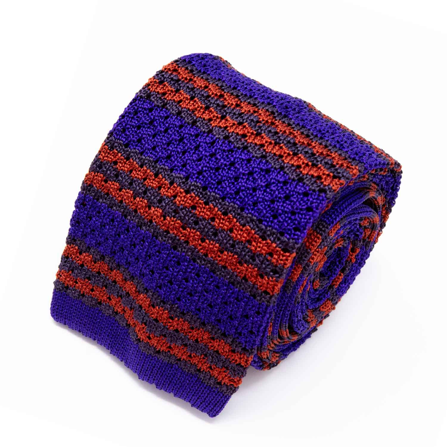 Purple and Orange Striped Zig Zag Knitted Tie - serafinesilk