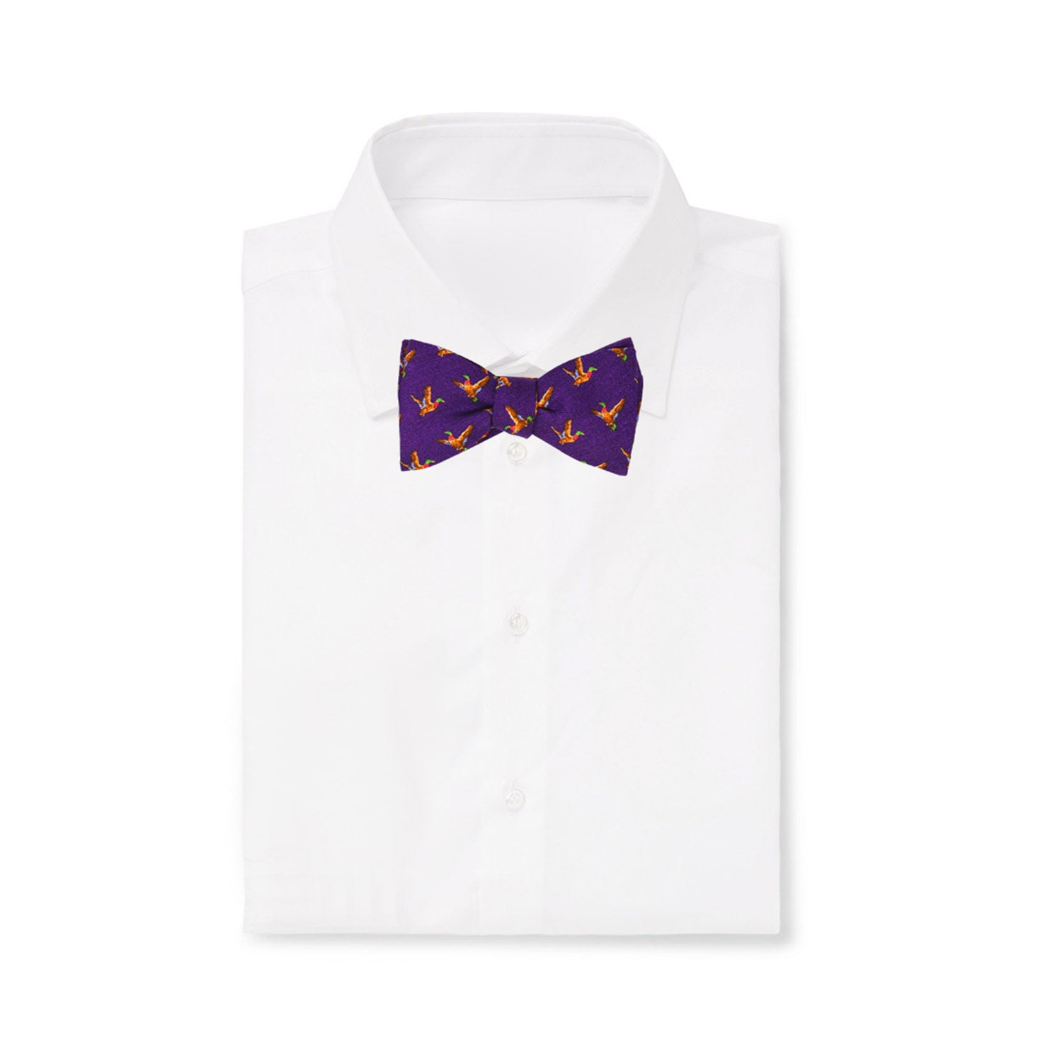 Purple Birds Self-Tie Wool Pattern Bow Tie - serafinesilk