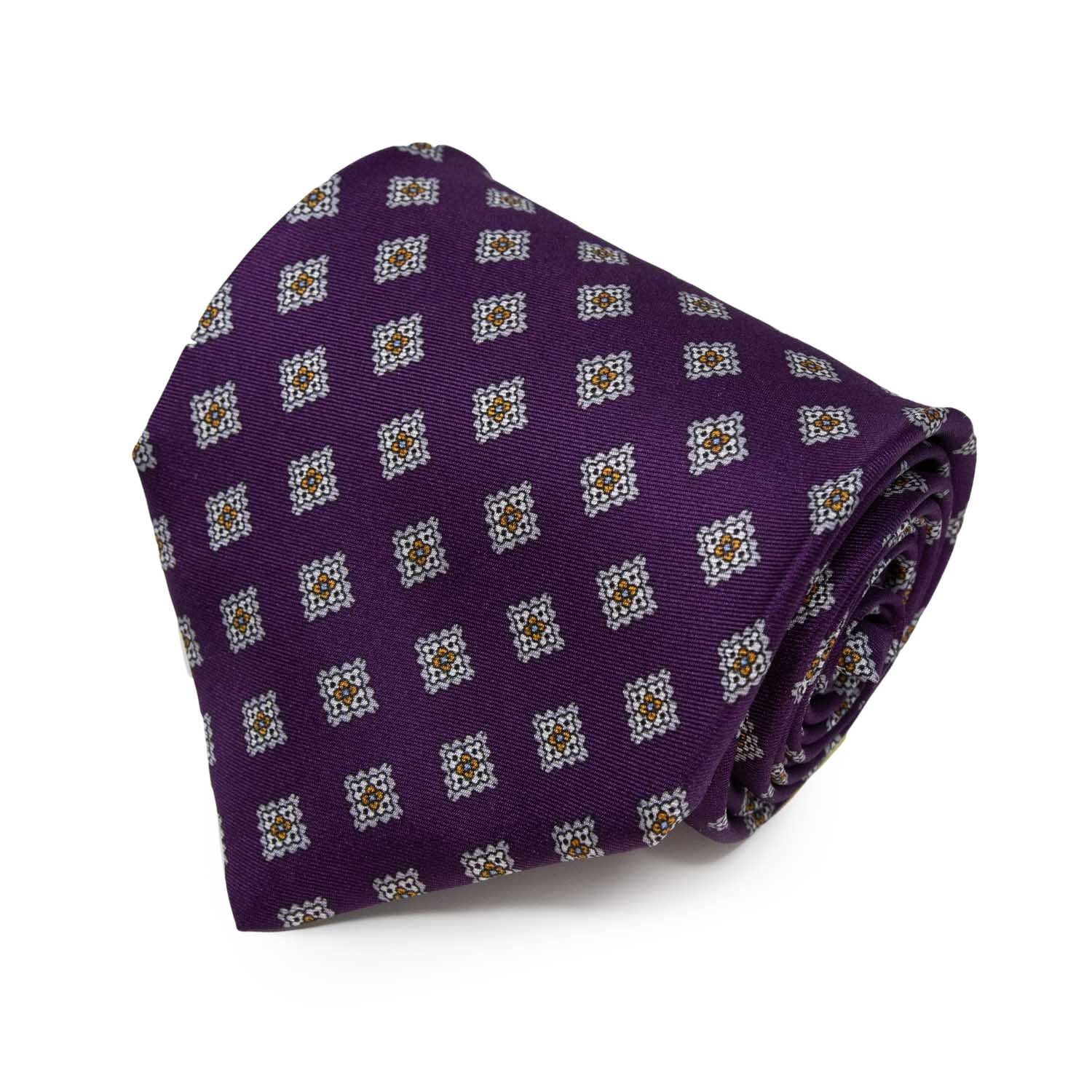 Purple with Grey Squares Pattern Silk Tie - serafinesilk