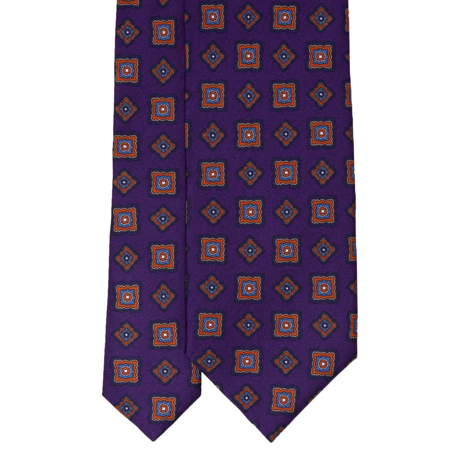 Purple with Big Rombs Pattern Silk Tie - serafinesilk