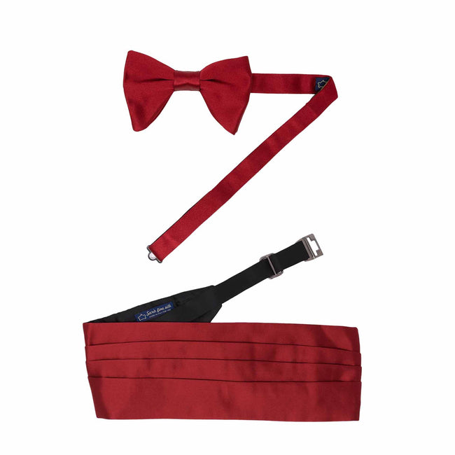 Pre-Tied Bow-tie and Cummerbund Black Silk Set