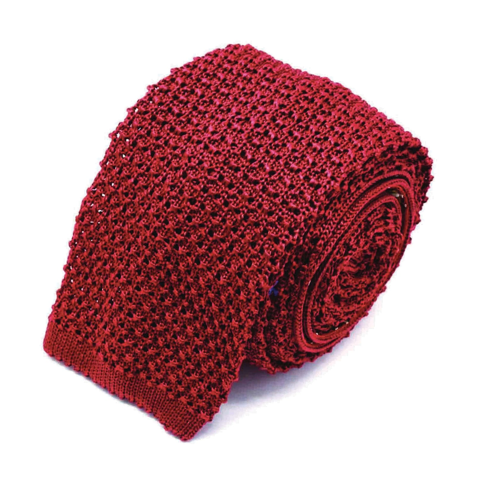 Red crochet knitted tie - serafinesilk