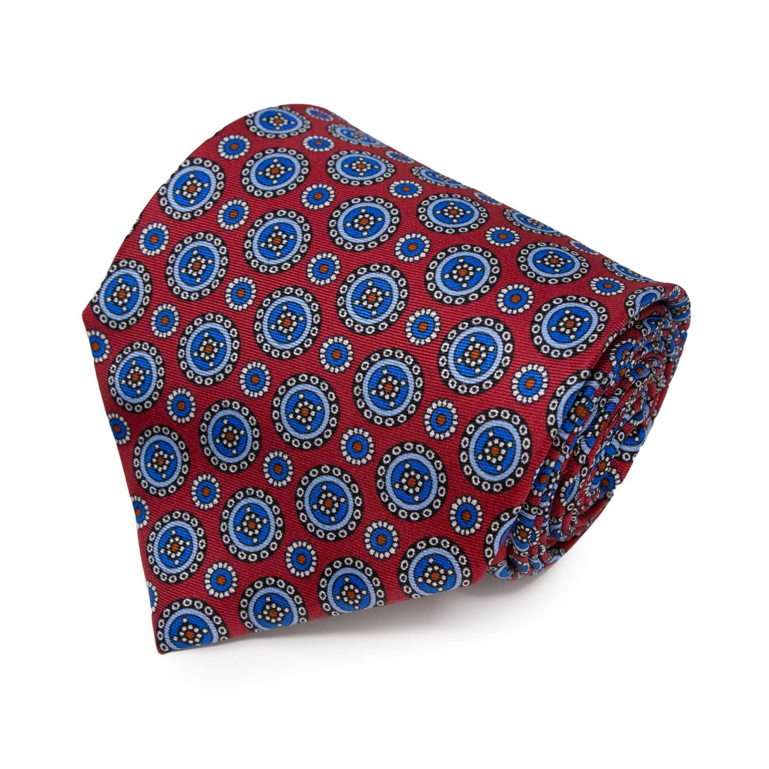 Red with Light Blue Round Pattern Silk Tie - serafinesilk