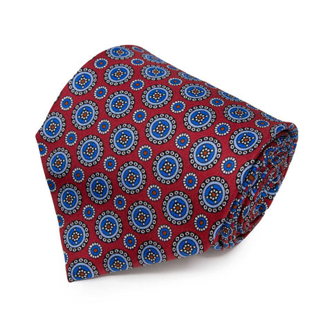 Orange with Square Dots Pattern Silk Tie