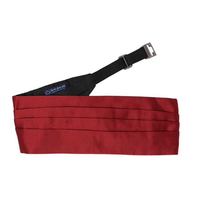 Red Silk 4 Pleat Cummerbund - serafinesilk