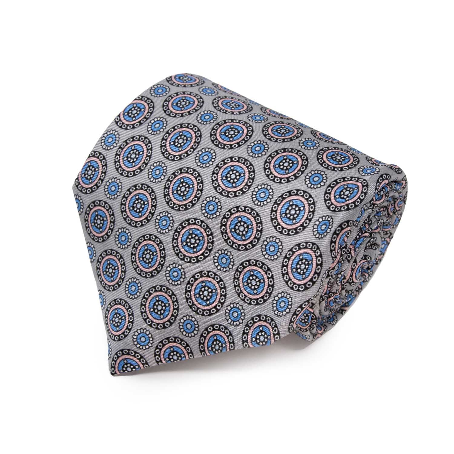 Light Grey with  Pink Round Pattern Silk Tie - serafinesilk
