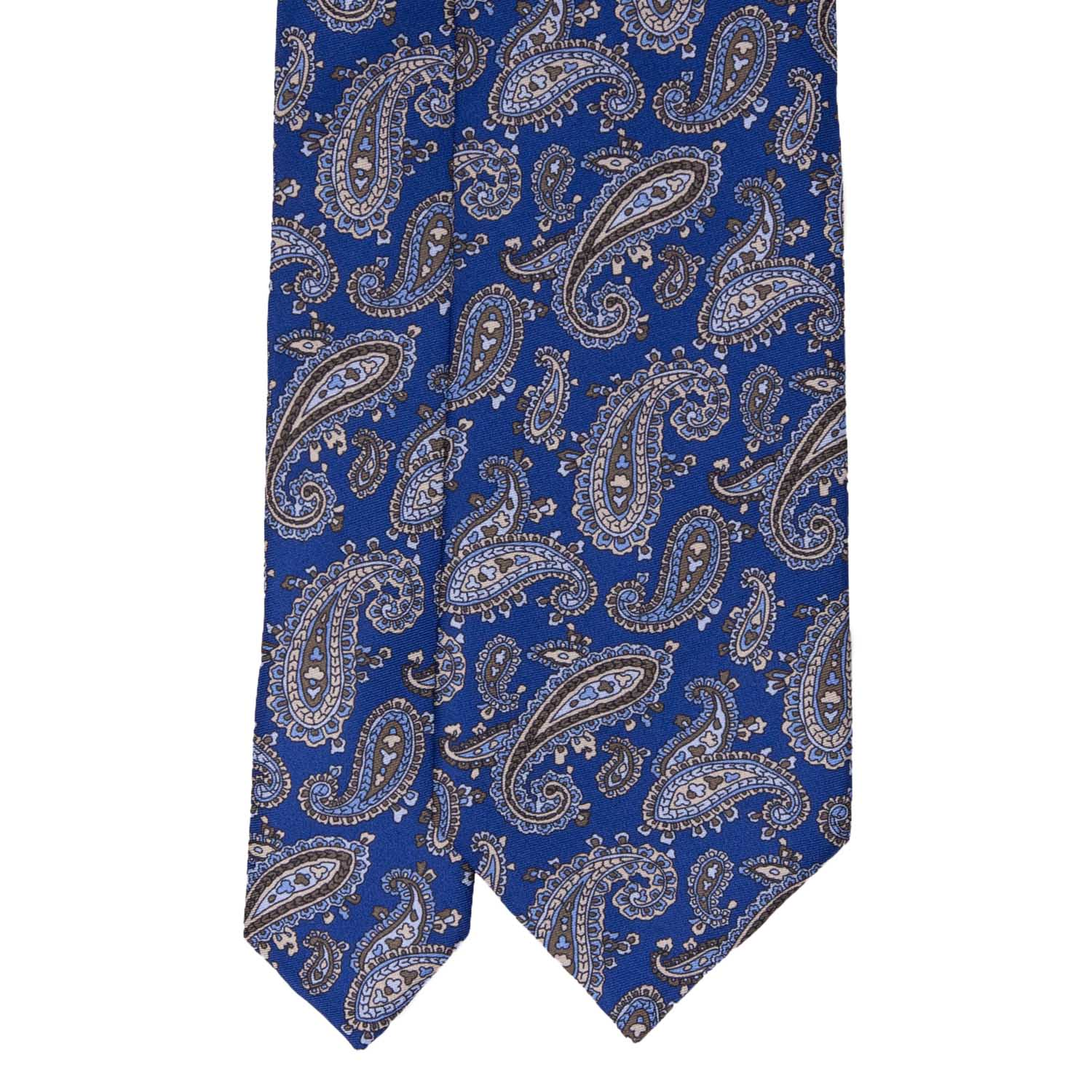 Royal Blue with Light Brown Paisley Pattern Silk Tie