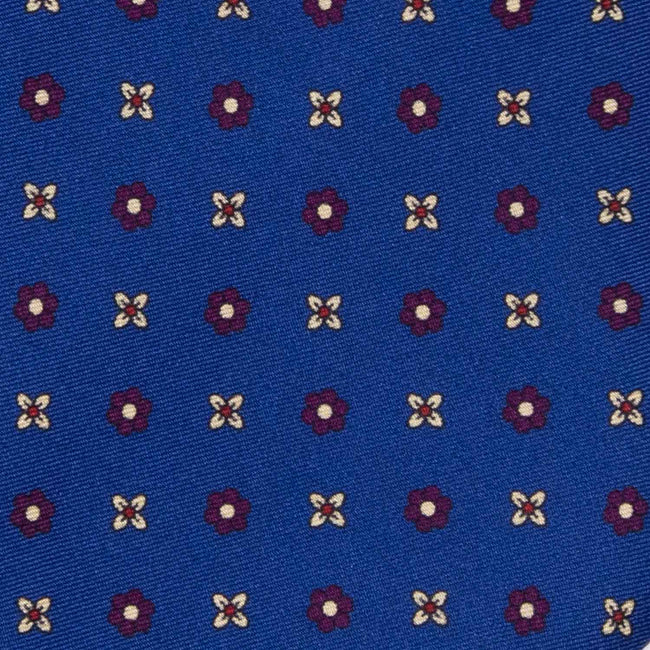 Royal Blue with Burgundy Small Flowers Pattern Silk Tie - serafinesilk