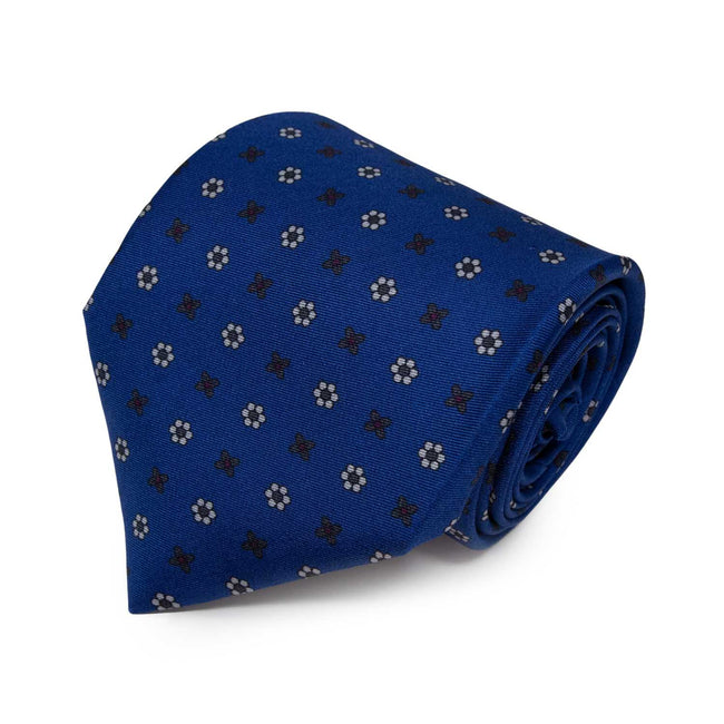 Royal Blue with White flowers Small Flowers Pattern Silk Tie - serafinesilk