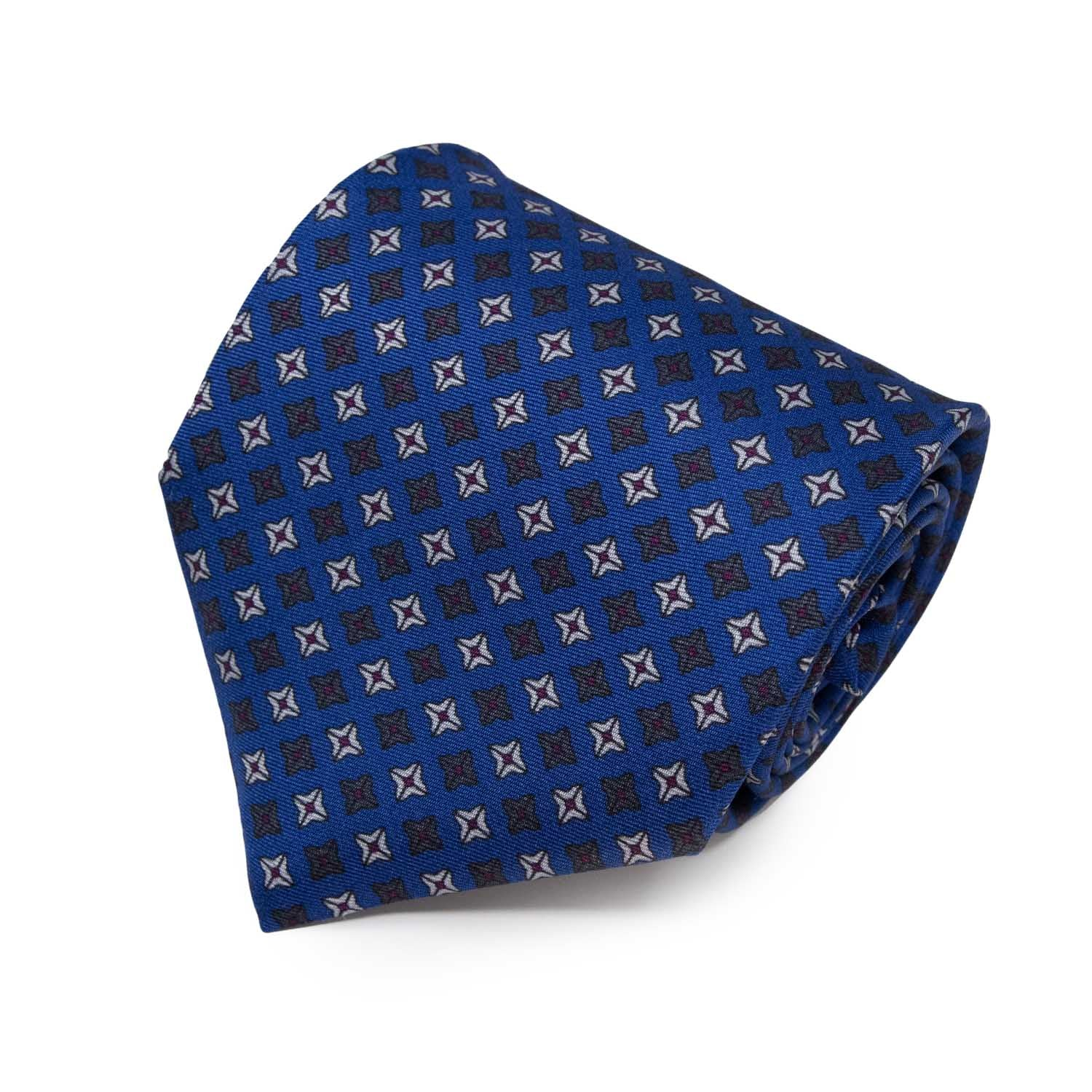Royal with White Square Dots Pattern Silk Tie - serafinesilk