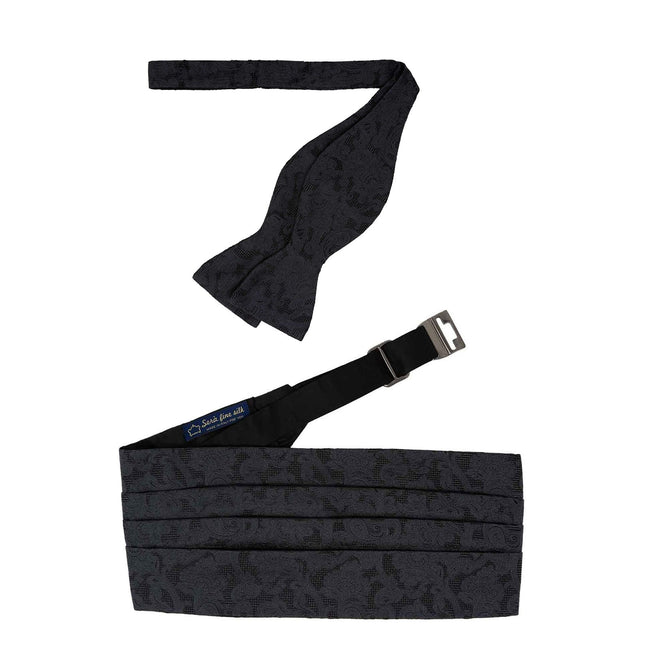 Bow-tie and Cummerbund Black Jacquard Set