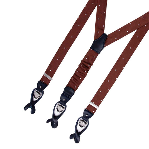Blue with Beige Dots Silk Suspenders