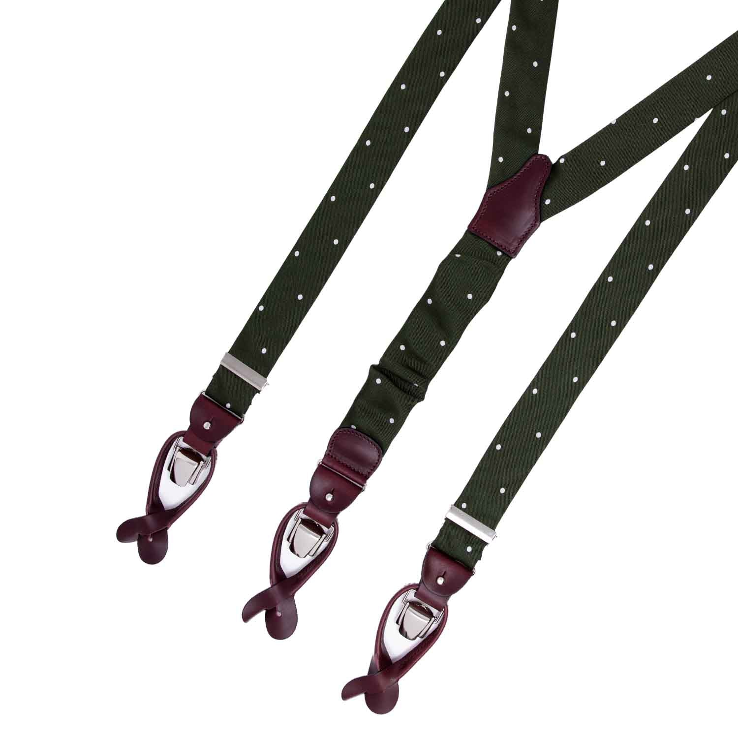 Green with  Polka Dots Silk Jacquard Suspenders - serafinesilk