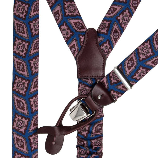 serà fine silk - light blue with pink rombs suspenders