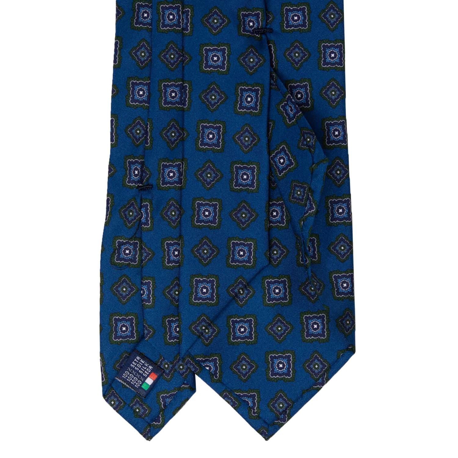 Teal Blue with Green Big Rombs Pattern Silk Tie - serafinesilk