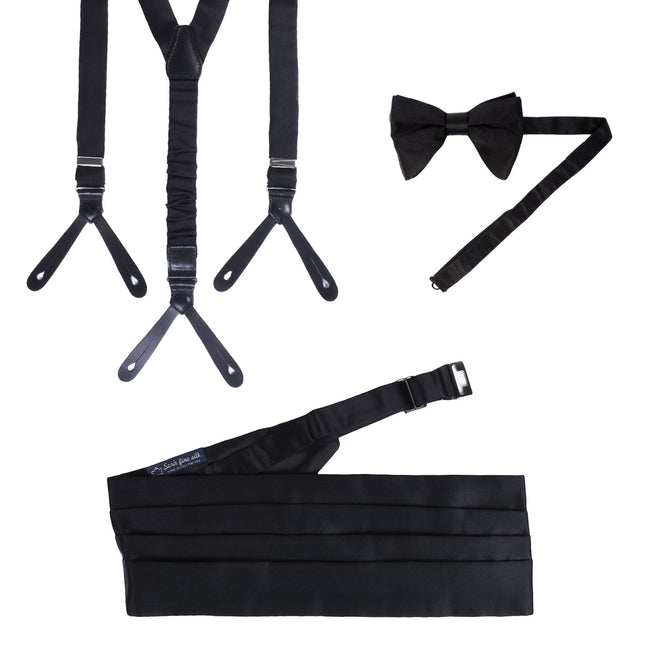 Suspenders, Pre-Tied Bow-tie and Cummerbund Black Silk Set - serafinesilk