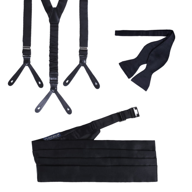 Suspenders, Self-Tie Bow-tie and Cummerbund Black Silk - serafinesilk