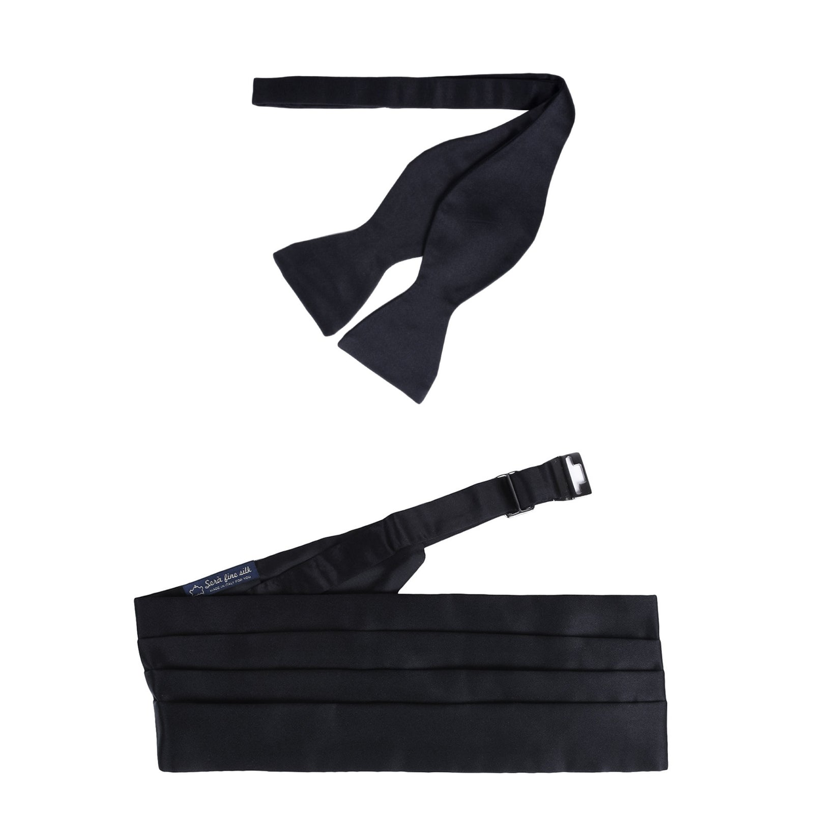 Self-Tie Bow-tie and Cummerbund Black Silk - serafinesilk