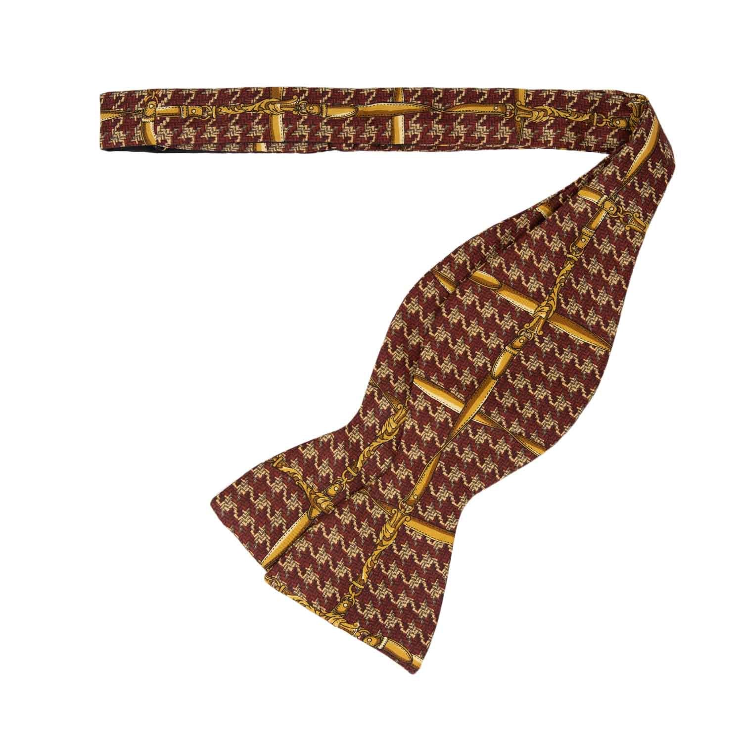 Red and Gold Pattern Self-Tie Silk Bow Tie - serafinesilk