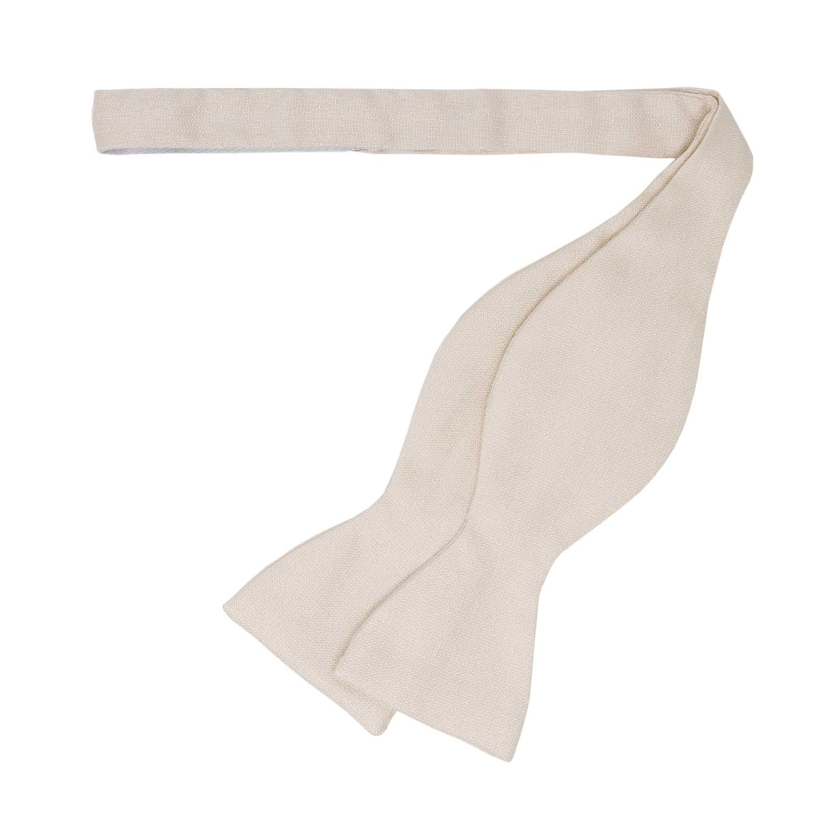 White textured Self Tie Silk Bow Tie - serafinesilk