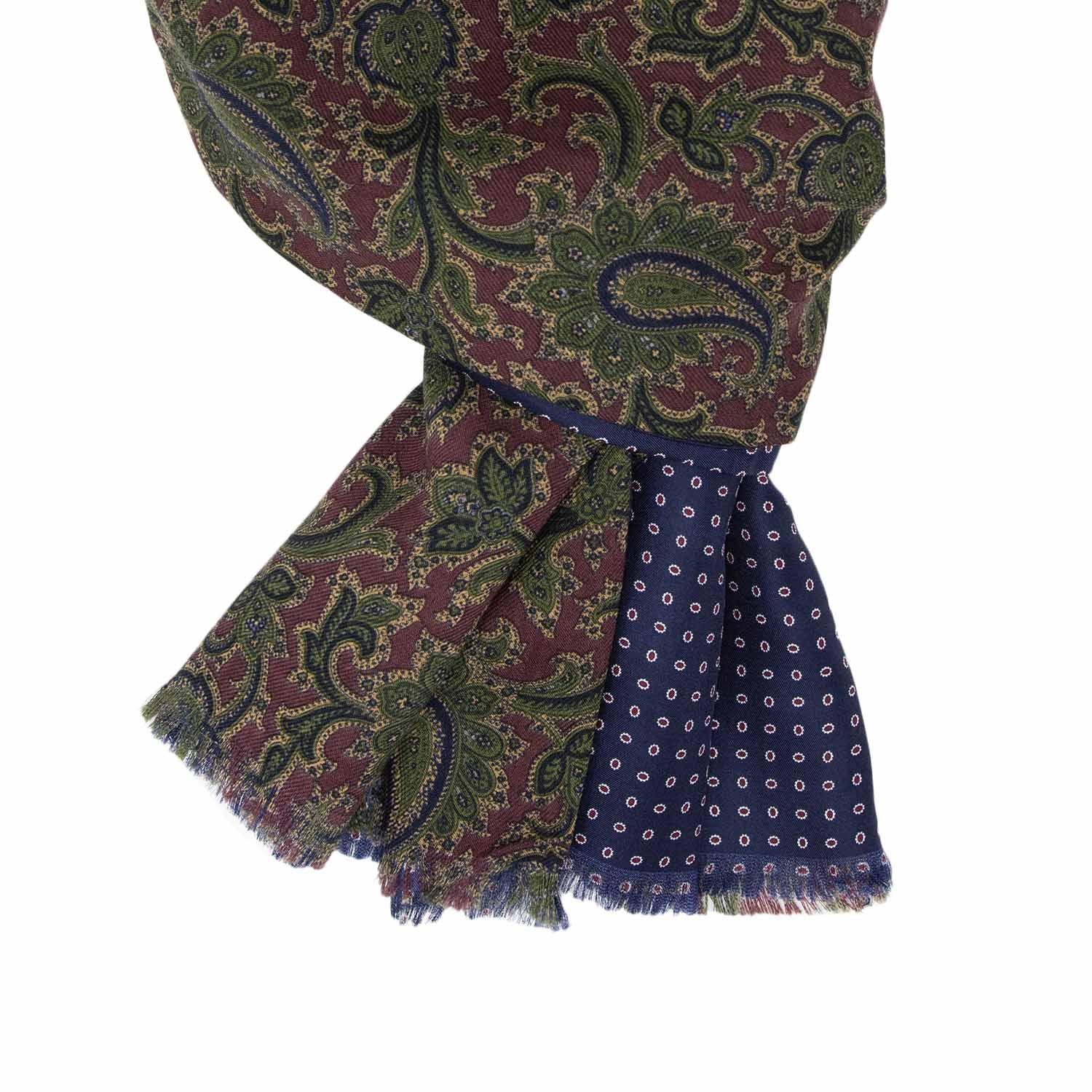 Burgundy / Blue Wool & Silk Scarf