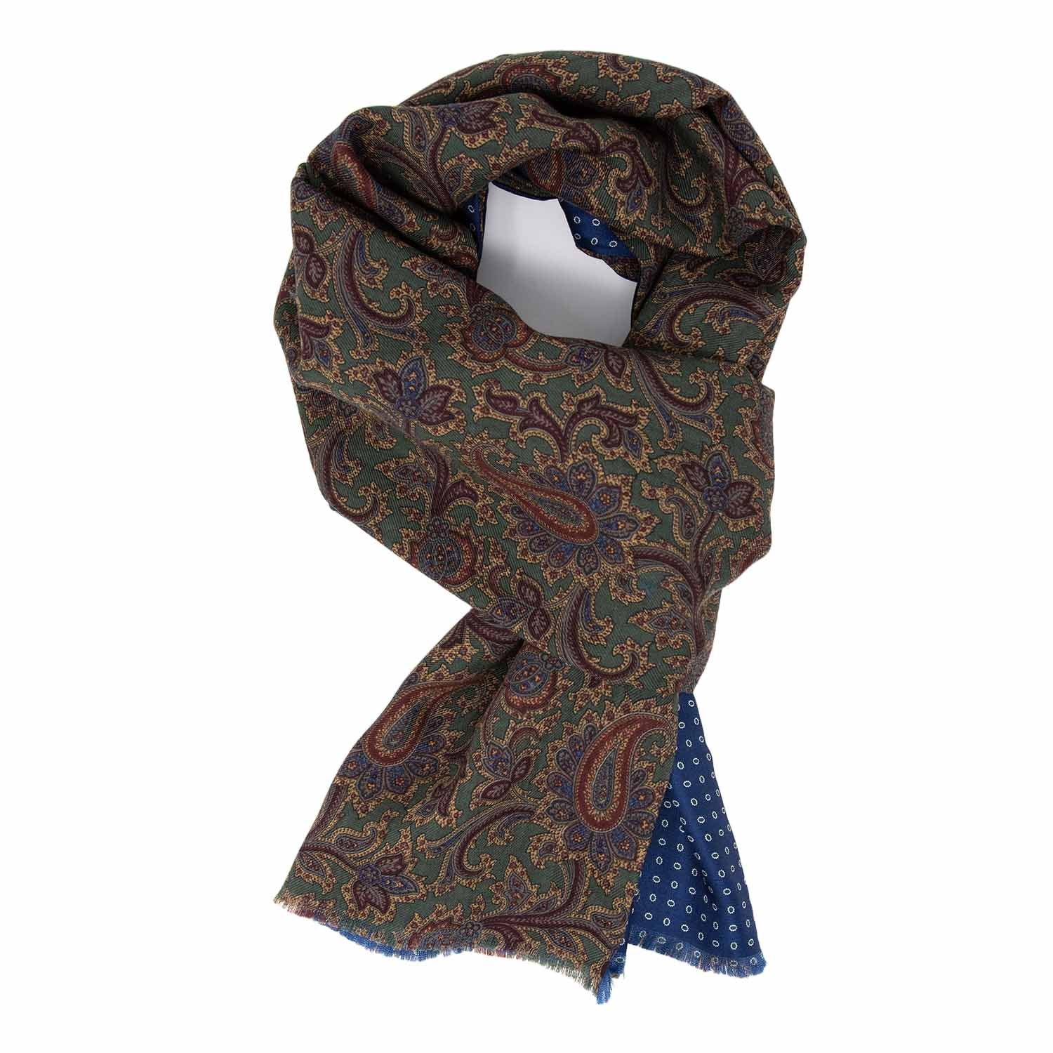 Green / Blue Wool & Silk Scarf - serafinesilk