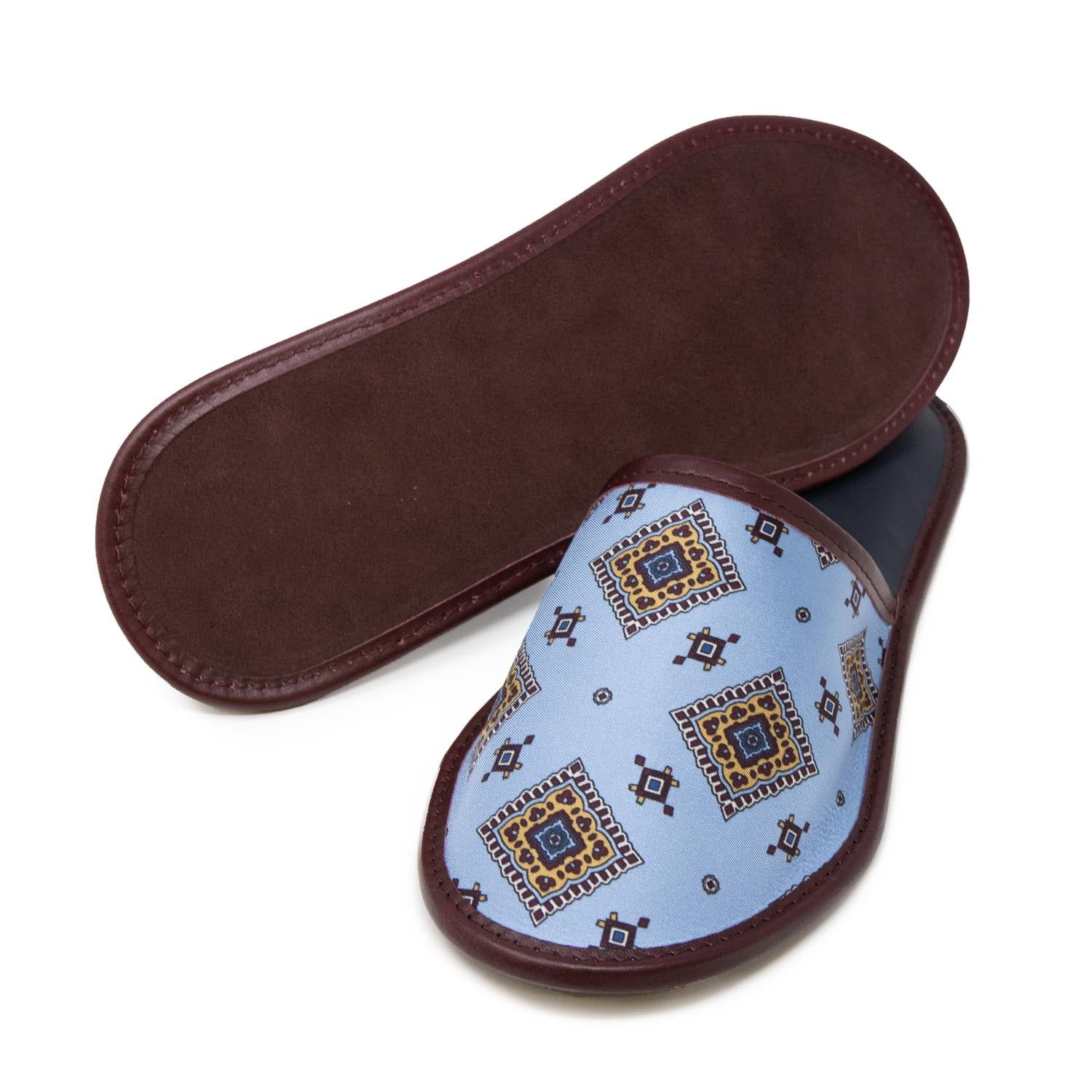 serà fine silk - Light Blue and Burgundy with Medallions Silk & Leather Slippers