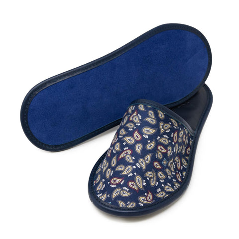 Blue Silk & Leather Slippers