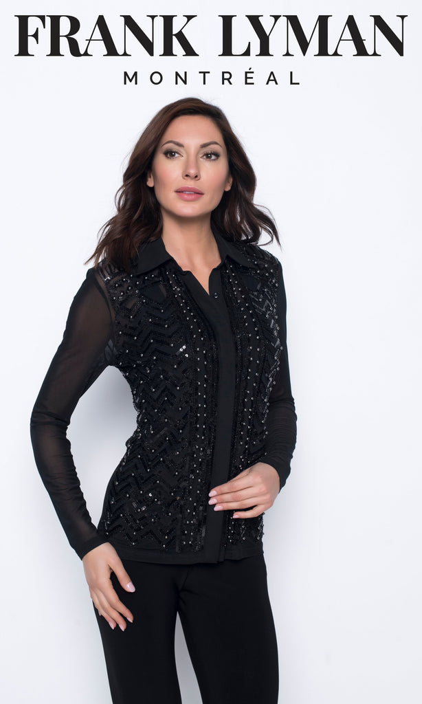 Chandail manches longues en Knit Frank Lyman - 203100U BLACK - Gaby Style & Passion