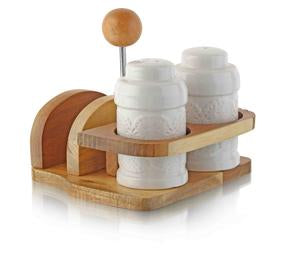 Ceramic and Bamboo Salt, Pepper and Napking Holder Set