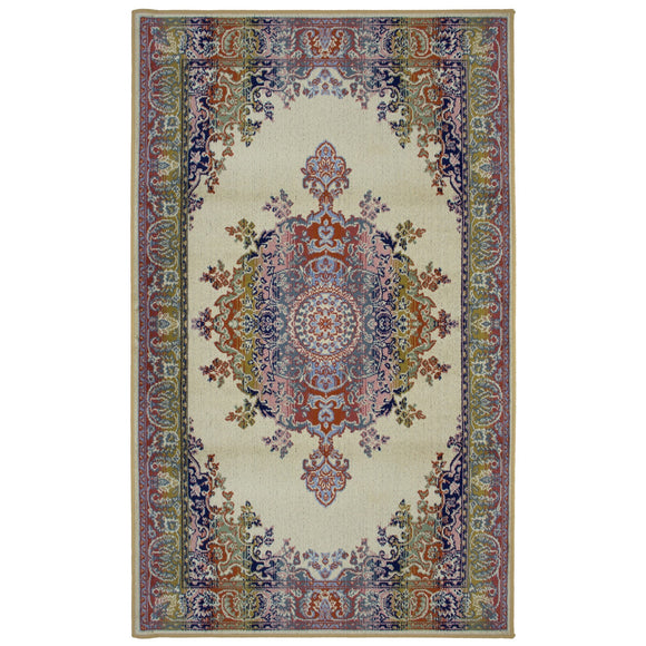 Art. Silk Medallion Multi Beige 5X8